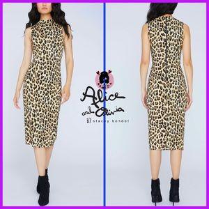 🏷 🆕 Alice + Olivia Bodycon Leopard Midi Dress